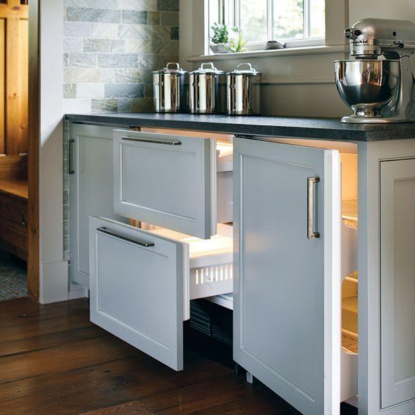 Boston Magazine - kitchens - Benjamin Moore - Decorators White - shaker cabinets, white shaker cabinets, soapstone countertops, wood panel fridge drawers, wood panel mini-fridge, kitchen hardwood floors, wood panel appliances,