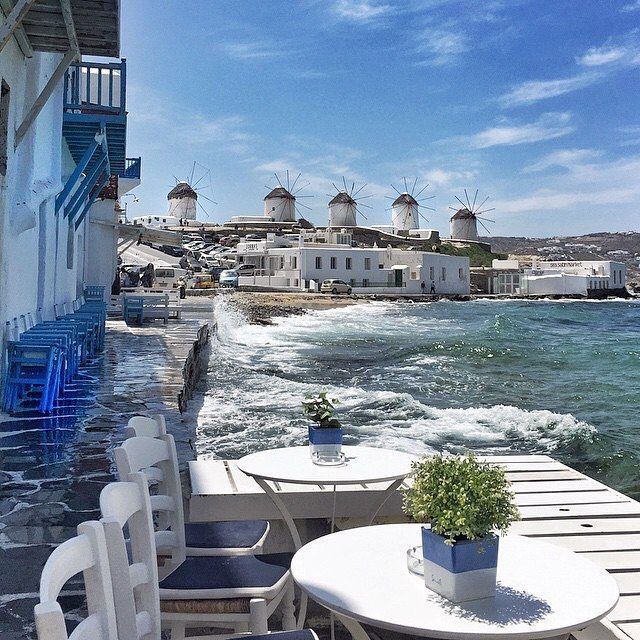 The magnificent traditional windmills of Mykonos island (Μύκονος)❤️. A usual windy day on the island with the wonderful sunlight ... Unique kind of beauty !