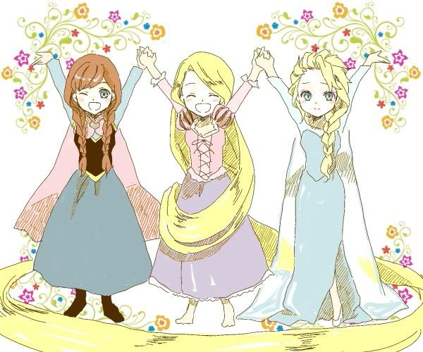 Anna, Rapunzel, & Elsa They should have merida the. That would be perf My 4 fav princesses