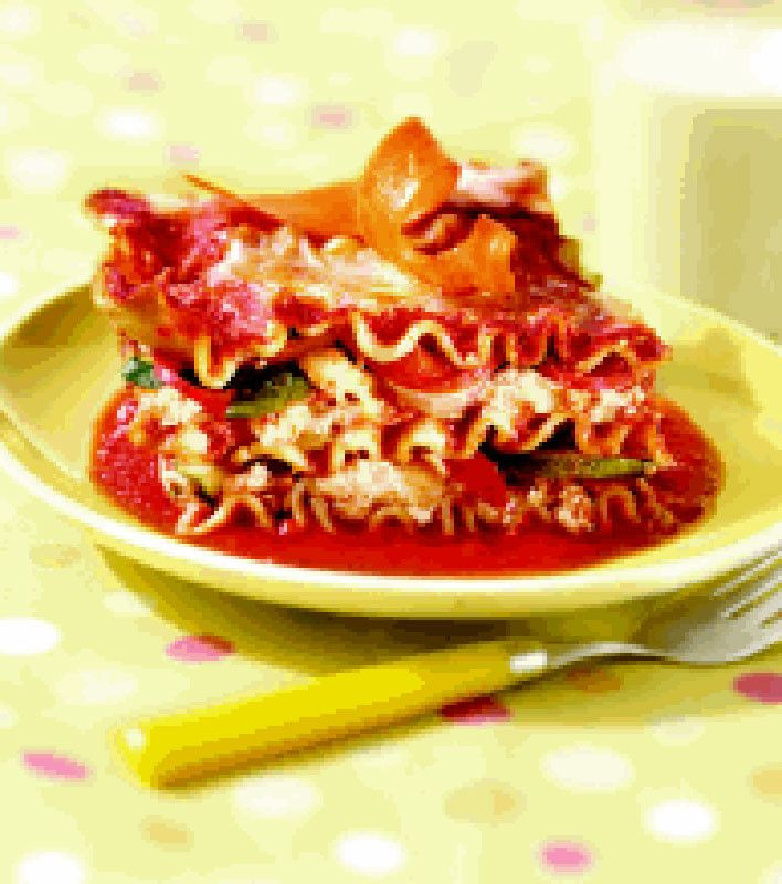 Veggie No Boiling Lasagna  -  Full recipe here...  http://www.myrecipes.com/recipe/veggie-no-boiling-lasagna-10000001895526/