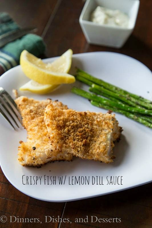 Crispy oven baked cod fillets with a lemon dill sauce for dipping.