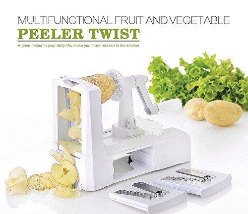 Kitchen Tool 3 in 1 Slicer Julienne Cutter Spiral Vegetable Slicer Spiralizer Fruit Veggie Chopper Cutter Twister Peeler >>> You can get more details at
