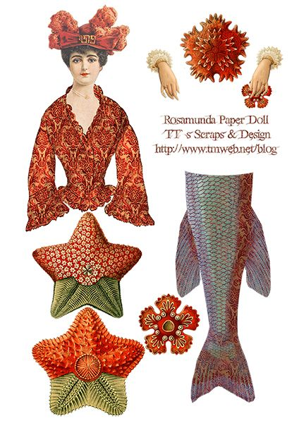 Rosamunda Mermaid,  Digital Collage Sheet  http://www.tmweb.net/blog/?p=630