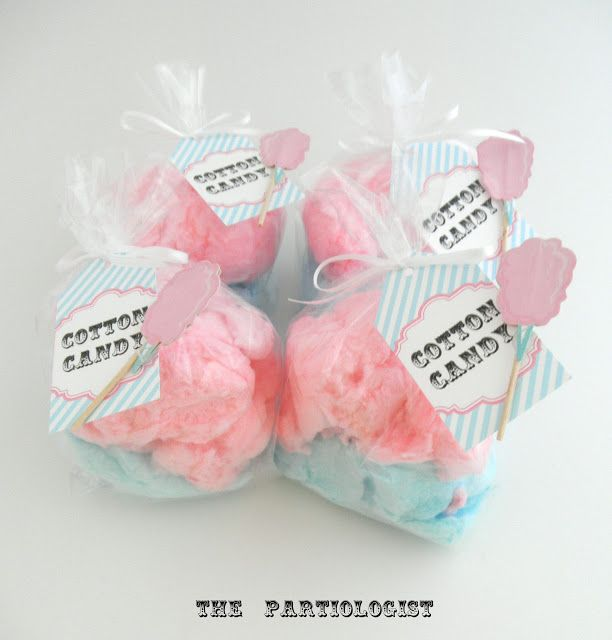 Printable Cotton Candy Labels>> The Partiologist: CIRCUS PARTY - Featuring...Cotton Candy ((cotton candy bought at 'Sams Club' & bagged in clear celophane bags with Printable LABELS & a cotton candy cupcake topper attached to each tag))