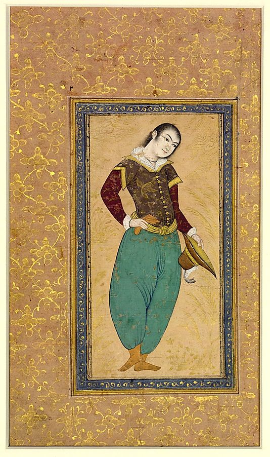 A Portuguese mid-17th century Iran Medium: Ink, opaque watercolor, and gold on paper Dimensions: Painting: H. 7 in. (17.8 cm) W. 3 15/16 in. (10 cm) Page: H. 12 1/4 in. (31.1 cm) W. 7 1/4 in. (18.4 cm) Mat: H. 19 1/4 in. (48.9 cm) W. 14 1/4 in. (36.2 cm) Metropolitan Museum of Art 55.121.23