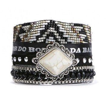 Seattle - Bracelet manchette - noir - Hipanema - ou le rouge moyen model Brandalley code promo BRAND15