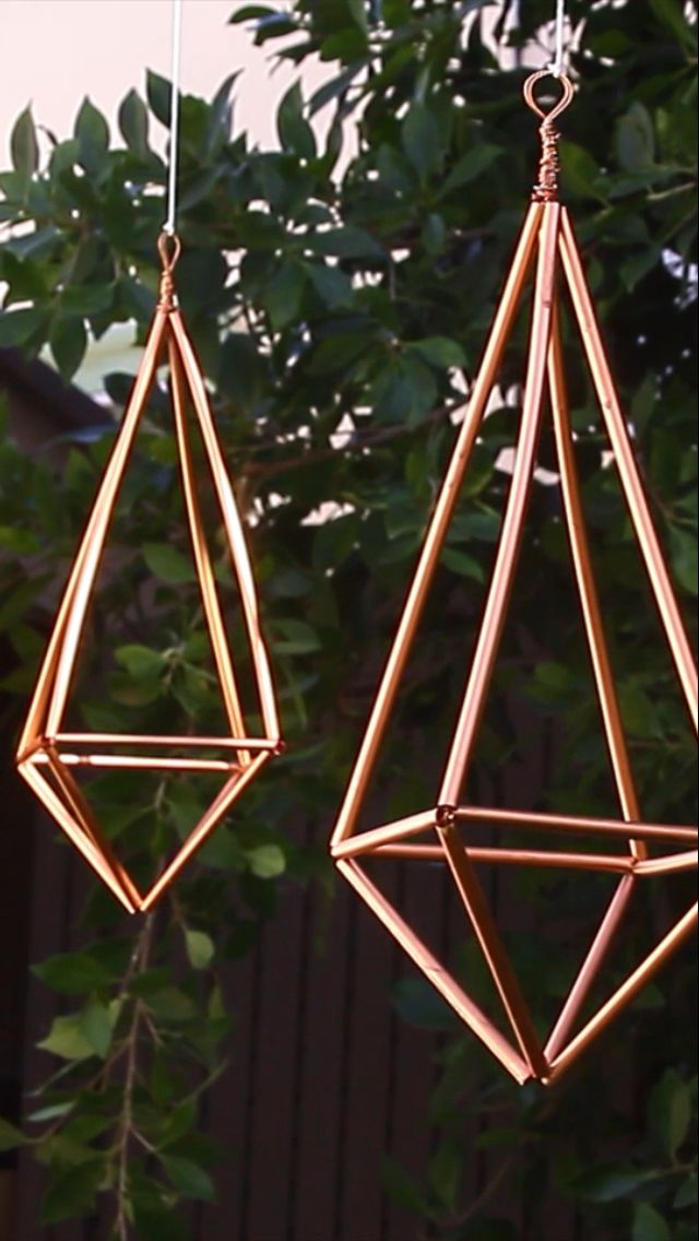 Made out of: straws(spray painted) and copper wire