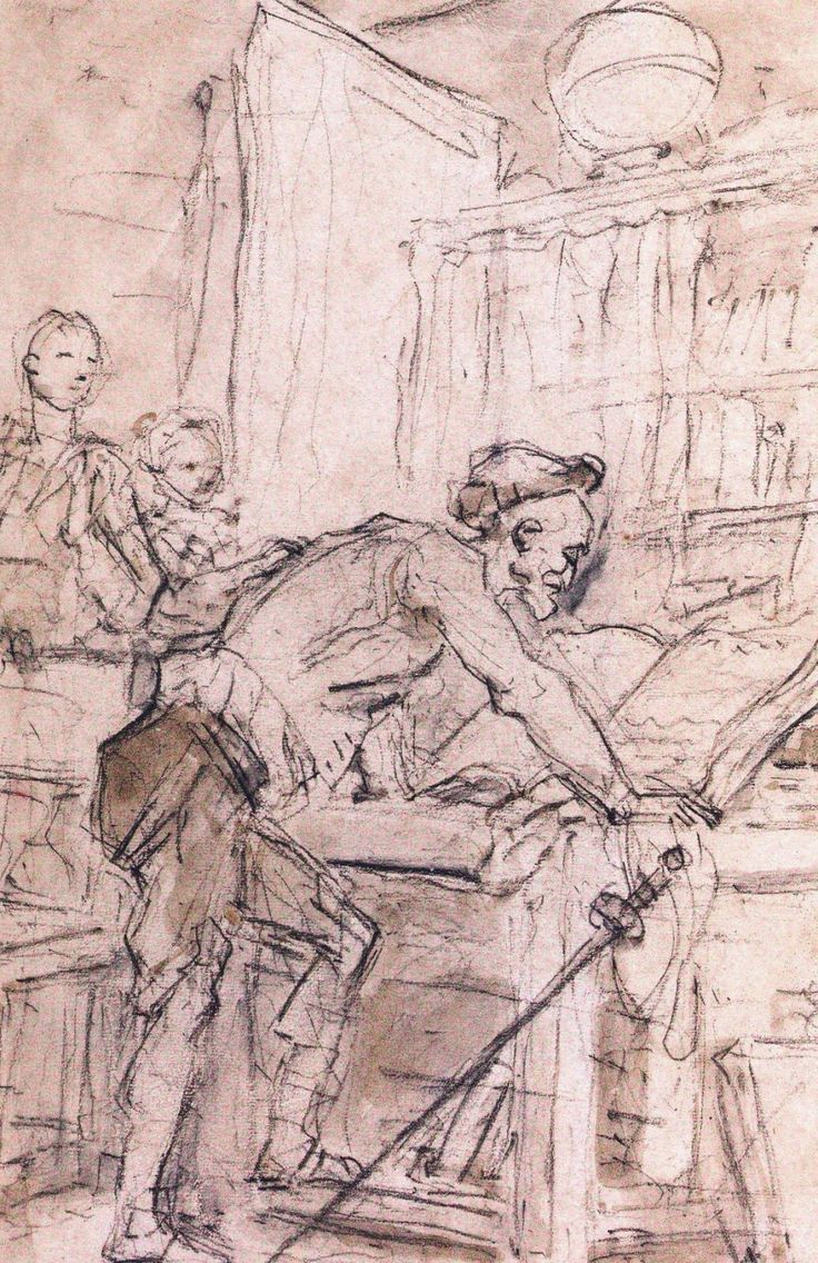 Don Quijote enfrascado en la lectura, dibujo de Jean-Honnoré Fragonnard, 1780. El lector-imitador se transforma en caballero andante / http://checacremades.blogspot.com.br/2014/02/la-libreria-bardon-de-madrid.html