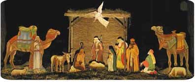 Outdoor nativity plans and pre-painted posters to glue to plywood cut-outs.