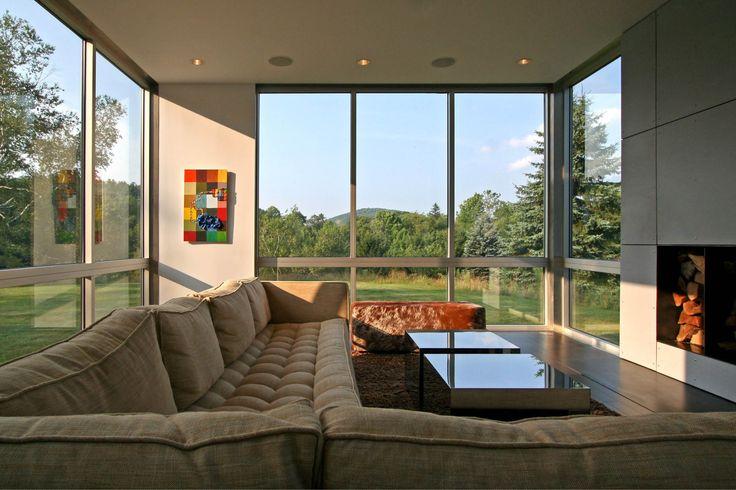 Modern Modular Prefab House   Norfolk Connecticut   Living Room Fireplace Large Windows   RES4
