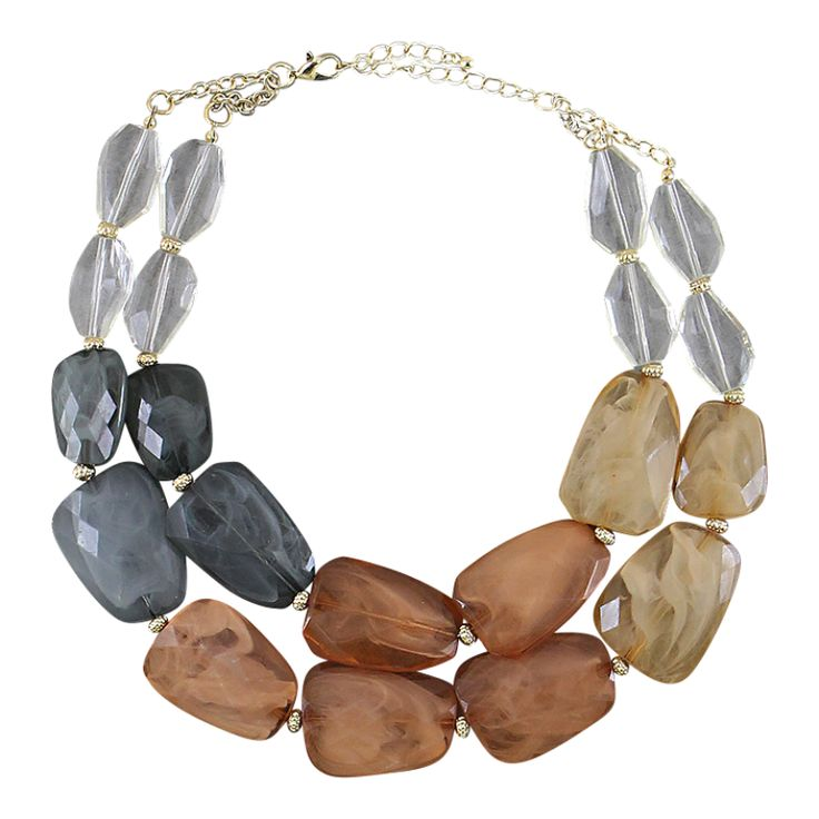 Camel & Gray Jewel Statement Necklace