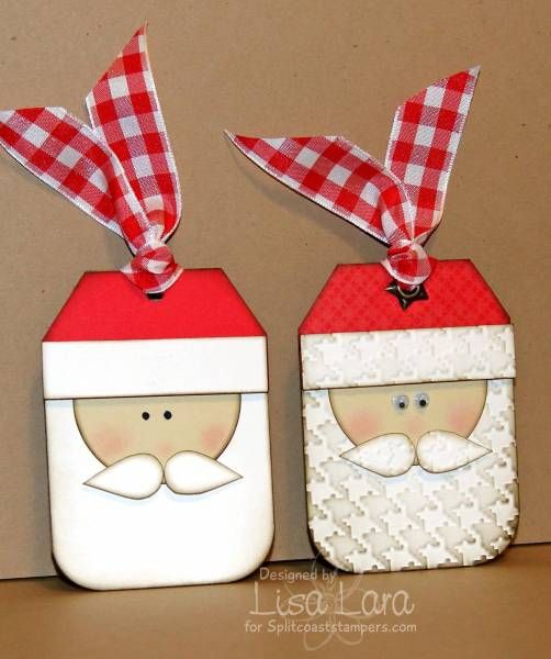 Cute tags.: Christmas Cards, Santa Tags, Santa Baby, Handmade Christmas, Punch Art, Scrapbook Embellishments, Gift Tags, Christmas Tags, Gifts Tags