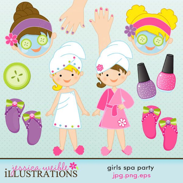 Girls Spa Party  Love this clip art. Reasonably priced. This on is on sale right now for $3  mygrafico.com