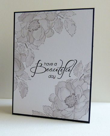 Altenew Beautiful day. Stamped & coloured with Hickory Smoke distress ink. Sentiment Heartfelt Creations