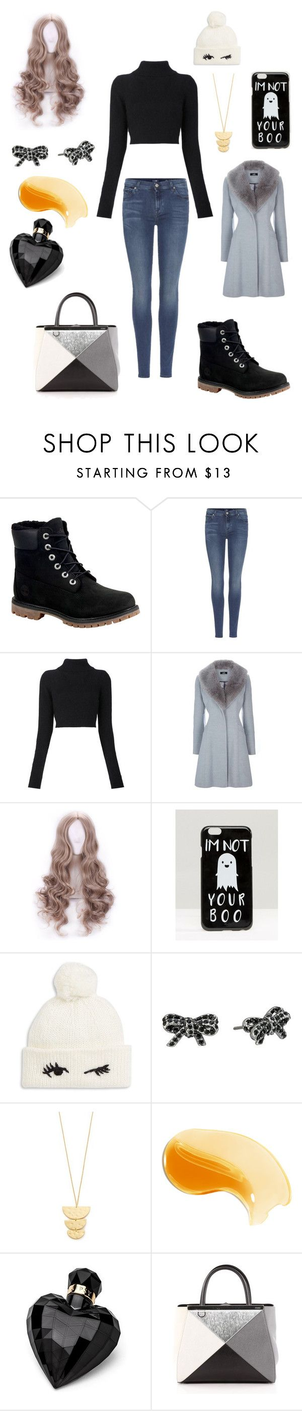"""""""Sans titre #2148"""" by amandine-collet on Polyvore featuring mode, Timberland, 7 For All Mankind, Balmain, ASOS, Kate Spade, Marc Jacobs, Gorjana, Lipsy et Fendi"""