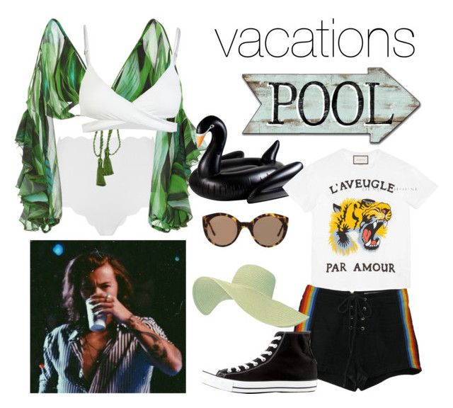 """""""Vacations, 2017."""" by nerdyhesc ❤ liked on Polyvore featuring Marysia Swim, Água de Coco, L*Space, Zimmermann, Gucci, Retrò, Converse and Illesteva"""