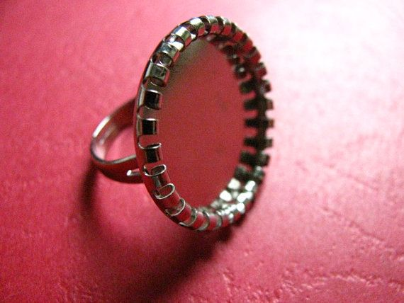 25 mm Adjustable Bezel Ring Base Silver by Turkeysupply http://etsy.me/1B6cYLR #jewelry #ring #mount #brass #jewel #gem #bezel #setting