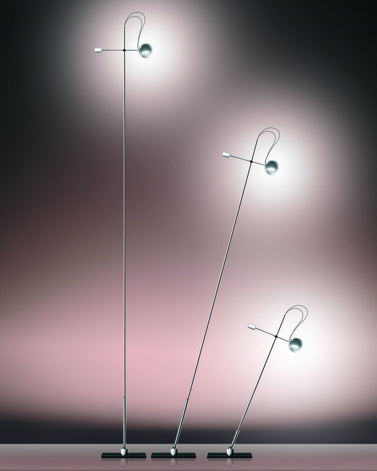 The carbon rod of the ABSOLUT LIGHTING DESKTOP LIGHTING can be swivelled infinitely in all directions with the joint. The lamp head with a carefully crafted circular section of stainless steel servers as a reflector which is also rotatable by 360°. Buy athttps://www.radius-design.com/lamps/standinglamps/floor-lamp/ #light #lamp #design