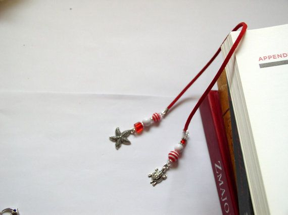 Bookmark  Gift for sea lovers Red leather by VitezArtGlassDesign, $12.00