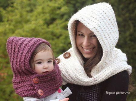 Crochet hooded scarf, free pattern