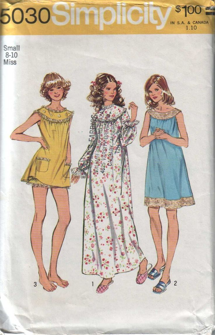 Simplicity 5030 Vintage 70s Womens Baby Doll Night Dress