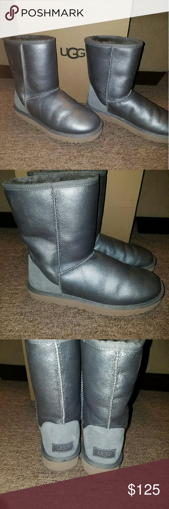 "Metallic silver women's ugg short boots Metallic silver women's size 10 ugg boots. Worn once and in amazing conditon. 8"" shafts height , Eva outsole , ugg pure wool inside UGG Shoes"