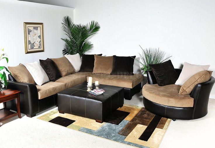 Multi-Tone Fabric Modern Sectional Sofa w/Optional Items