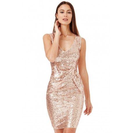 Złota cekinowa sukienka sylwestrowa z efektownym marszczeniem w talii