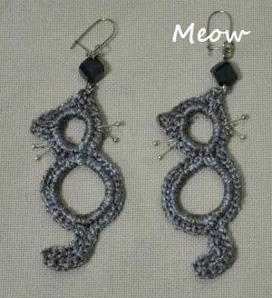 Crocheted Cat Earrings
