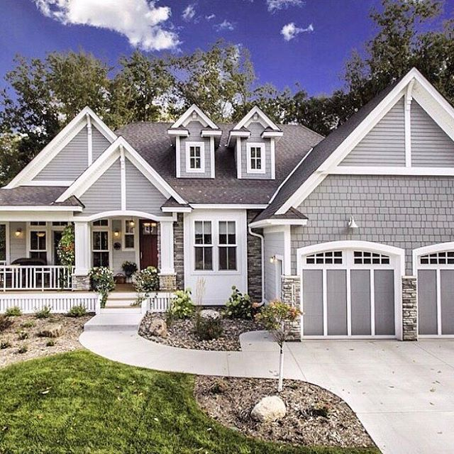 Isn't this home stunning? It's from @adhouseplans  Who wants to live here?!  As you know, I have a country coastal farmhouse style, and as much as I LOVE the look of farmhouse style exteriors and anything farmhouse, I still went with a craftsman style exterior. I just LOVE how classic it looks.