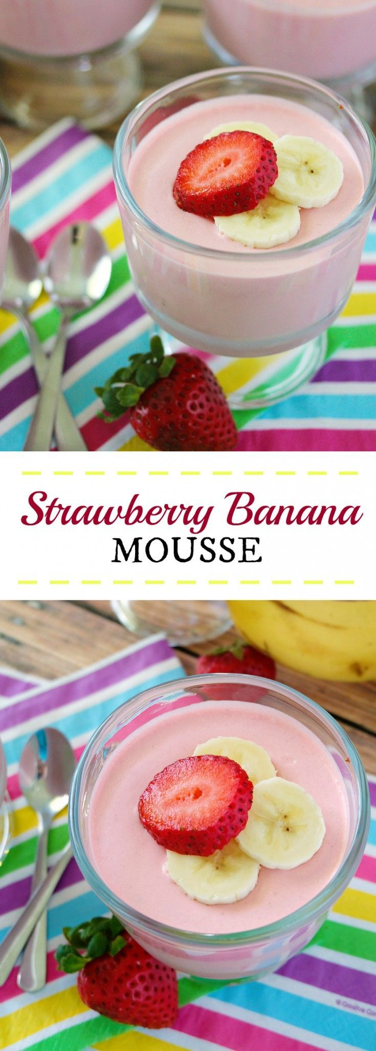 Strawberry Banana Mousse is a simple and easy recipe using jello, whipped topping and fruit. Creamy and smooth, and so entirely perfect for summertime!