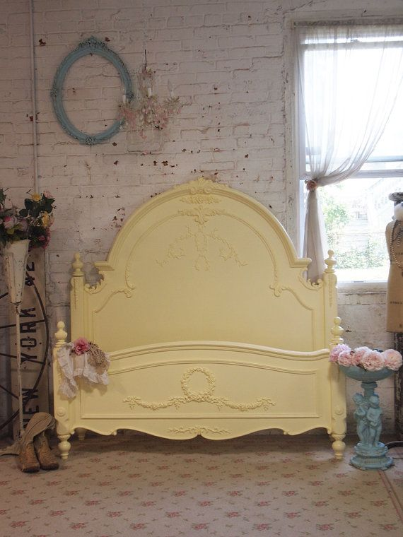 Painted Cottage Chic Shabby Yellow Texas Rose Queen Romance Bed via Etsy. 231 best Shabby chic Headboards images on Pinterest   Painted beds