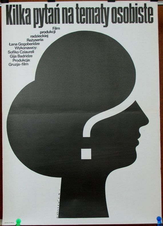 SU (Georgia Film) 1977 by Lana Gogoberidze - Some Interviews on Personal Matters. Polish poster by Mieczyslaw Wasilewski 1980. Drama