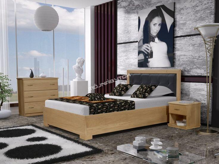 Krásna manželská posteľ IVO / 160x200 vyrobená z masívneho dreva.