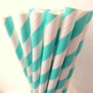 AQUA Stripe Paper Straws, 25 Aqua Paper Straws: Cake Pops, AQUA Weddings, Aqua Baby Shower, Aqua Bridal Showers, Diy Flags