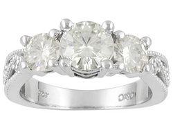 Moissanite Fire(Tm) 2.00ctw Diamond Equivalent Weight Round Platineve(Tm) 3 Stone Ring Eav $800.00