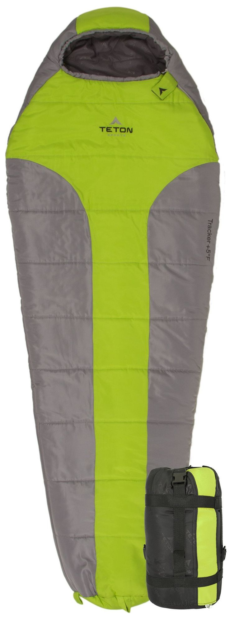 TETON Sports Tracker +5F Ultralight Sleeping Bag Perfect for Backpacking, Hiking, and Camping; Green/Grey. ULTRALIGHT AND ULTRAWARM: With body-mapping technology--bag is designed with added insulation where you need it most, primarily your feet; Backpack anywhere--weighs only 4.1 pounds (1.9 kg). EXCEEDS EXPECTATIONS: 3 piece hood contours your face to keep your whole head warm; Vaulted foot box; Anti-snag zipper with a full-length zipper draft tube eliminates any cold spots. LARGER...