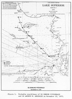 Map of Fitzgerald's probable course on final voyage***