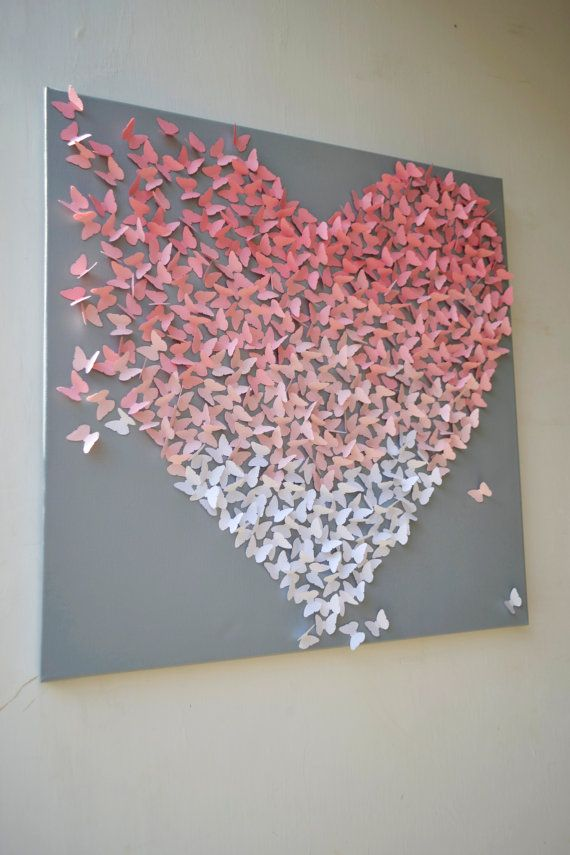 Pink Wall Art light pink ombre butterfly heart on grey/ 3d butterfly wall art