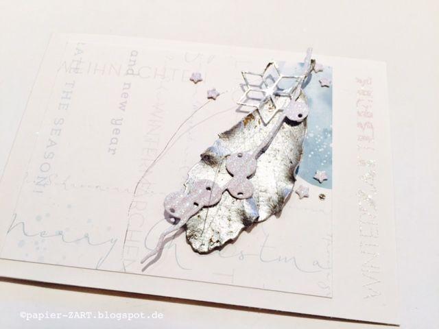 papierZART : Blattwerk, Weihnachtskarte, Weihnachten, Alexandra Renke Designpapier und Stanze, versilbertes Blatt