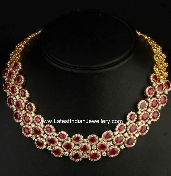 Ruby and Diamond Necklaces | Very Stylish Diamond Ruby Necklace - Latest Indian Jewellery Designs