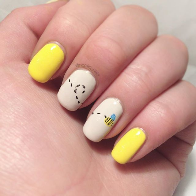 Bzzzz bzzz 🐝 #nails #nailart #mynailart #staypolished #ijustcantcopeacabana #opi #opipolish #polish #nailpolish #cute #bee #simple #nailartwow #weloveyournailart #nailartswag #cutenails #girly #yellow #nude #freehand #motd #notd #nailstagram #mani #mynails