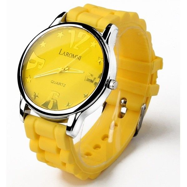 Women's GPCT Laromni Women's Silicone Sport Watches Strap Quartz (19 PEN) ❤ liked on Polyvore featuring jewelry, watches, jewelry & watches, women's watches, yellow, leather-strap watches, silicone jewelry, silicone wrist watch, silicon watches and quartz jewelry