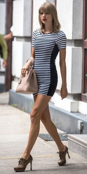 Taylor Swift Stripped Black & White Fitting Mini Dress with Brown ...