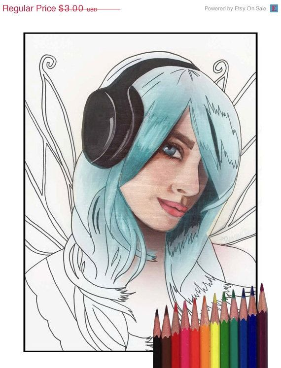 25 OFF Headphone Fairy Coloring Page Printable Music Art JPG By Deannadavoli On Etsy