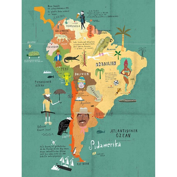 Map of South America. South America is like Africa's brother. Re-pinned by http://www.Basic-Spanish-Words.com/