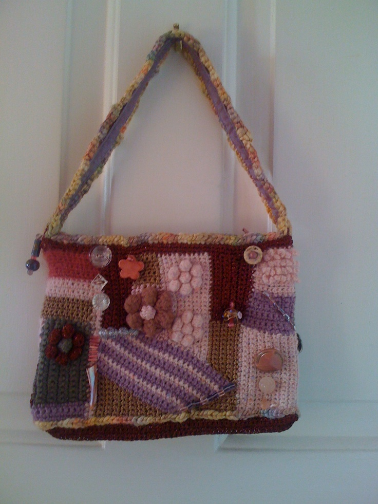 Other side of crocheted evening bag