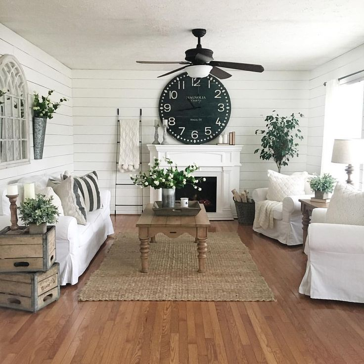"""Denise on Instagram: """"It's a chilly rainy day today which means it's a perfect day to have some fun decorating.  This is how I wish our family room always looked but real life with 8 kiddos and a hubby means there's not a gorgeous large Magnolia clock above our mantle but instead a large tv (darn television has to spoil all the fun, haha).  However we are on the hunt for a large antique mantel for our basement which this gorgeous clock will be sitting permanently above.  F..."""