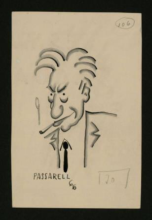 Jaume Passarell. Dibuixant, ninotaire, caricaturista, humorista i escriptor. - Caricatures originals per a l'edició de l'obra Personatges, personatgets i personatjassos :: Materials gràfics (Biblioteca de Catalunya)