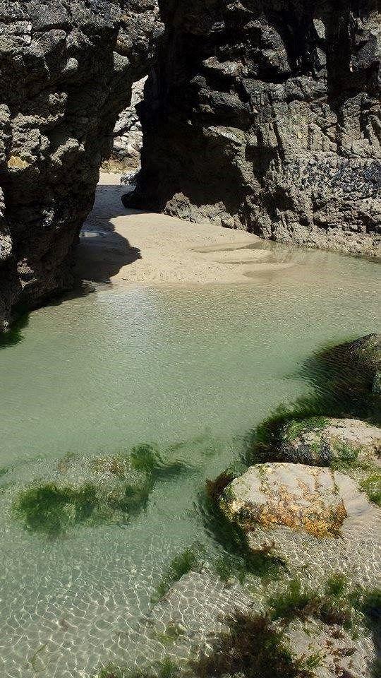 Perranporth beach cave.jpg in Cornwall, England